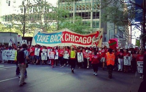 Teachers march on protest in Chicago this week. Photo courtesy Wikimedia Commons user MisterJayEm.