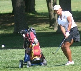 Carlia Canto led the Knights to sixth place over the weekend. Photo courtesy of calvin.edu.
