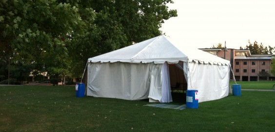 The 24-7 prayer tent is located on Commons lawn and is open to all Calvin community members.  Photo by Grace Ruiter