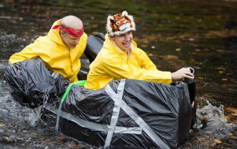 Eight teams race cardboard canoes in sem pond