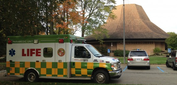 An ambulance arrived on campus within fifteen minutes of the emergency.  Photo by Ryan Struyk