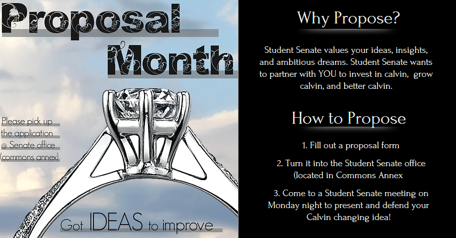 Last years Proposal Month was successful, and this years has even more resources to distribute.  Image courtesy student senate