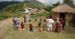 Nepalese elementary students learn basic skills in the beautiful Himalayan mountains.