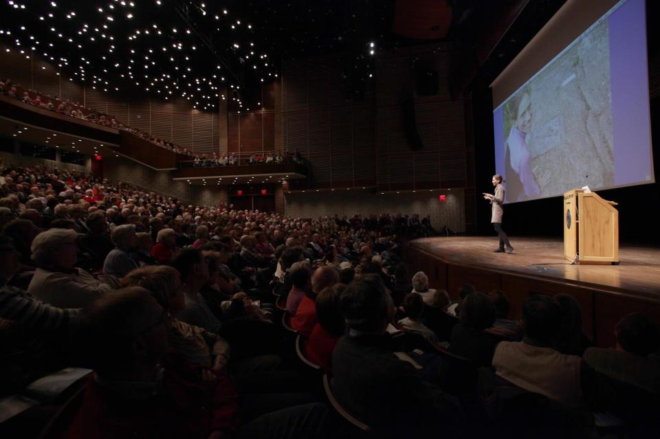A speaker from last years series addresses a crowd in the CFAC. Photo courtesy Calvin College.