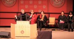 President Le Roy speaks during a convocation address in September 2012. Photo by Rick Treur.