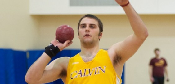 Aaron Meckes hoists the shotput.  calvin.edu