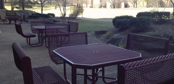 The three tables are now situated on the library patio.  Photo by Abby Zwart
