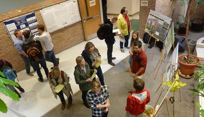 Students present their research in a poster fair. Photo courtesy calvin.edu.