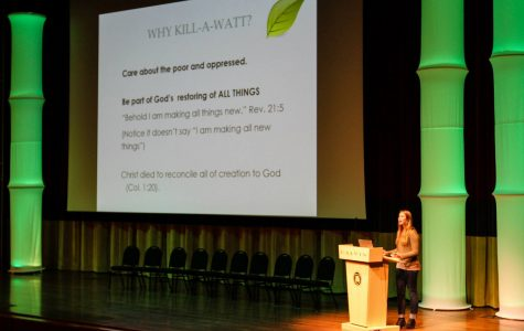 Sustainability Coordinator Emily Cole speaks during the Kill-a-Watt kick-off event. Photo by Rick Treur.
