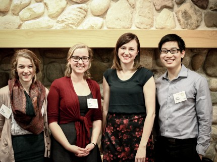 Chimes and Dialogue staff met Beaty at the Young Alumni Awards dinner. Photo courtesy Alden Hartopo.
