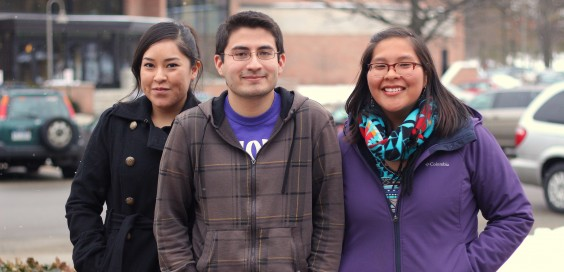 Students Tonisha Begay (left), Benjamin Chee (center), and Chantelle Yazzie (right). Photo by Anna Delph.