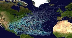 """This map shows the tracks of all Tropical cyclones in the North Atlantic Ocean from 1980 to 2005. The points show the locations of the storms at six-hourly intervals and use the color scheme shown above from Saffir-Simpson Hurricane Scale.""--Wikimedia Commons user Nilfanion. Photo by the National Hurricane Center."