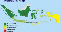 A map from 2011 of religions in Indonesia. Photo Courtesy Wikipedia