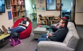 Students hang out in intercultural lounge, another resource developed to help connect students. Photo Credit Katelyn Bosch