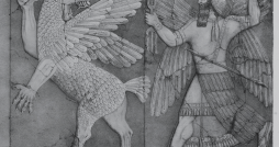 A tablet depicting a mythical battle between the Sumerian deities Anzû (left), a half man-half bird divine monster, and Ninurta (right), the god of hunting and war. Photo courtesy Wikimedia Commons