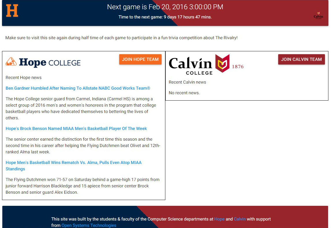 Trivia app site is result of rivalry school collaboration