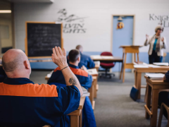 Inmates in ministry program engaged in asking questions