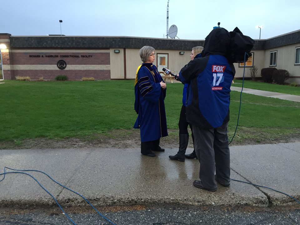 Professor Christiana deGroot speaks to reporters at the convocation. Photo courtesy calvin.edu