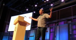 Writer and speaker Mark Charles speaking at the 2017 January Series; Photo courtesy @wirelesshogan