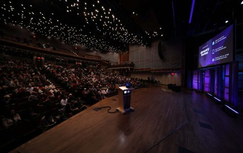 An audience waiting to here from writer, lawyer, politician and Girls Who Code founder Reshma Saujani; photo by Mary Taber