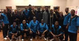 Ladysmith Black Mambazo performed in concert along with the Calvin Gospel Choir last Saturday night. Photo courtesy Calvin Gospel Choir.