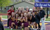 The women's lacrosse team defeated Albion College 12-11 in the MIAA Championship last year. Photo courtesy Calvin Sports Information.