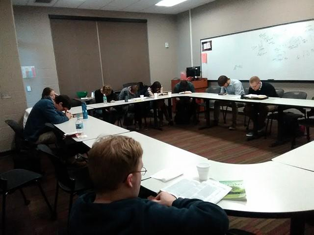 The Remnant Bible study gathers in CFAC 263 each Friday. Photo by Megan Mann.