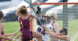 Emily Cefaratti (1) was named the MIAA Player of the Week in women's lacrosse. Photo courtesy Calvin Sports Information.