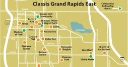 Map of churches in Classis Grand Rapids East . Photo courtesy Classis Grand Rapids East.