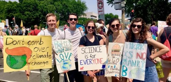 Calvin students participate in climate advocacy march on Saturday,  April 29.  Photo courtesy Miriam Kornelis.
