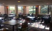 The commuter-only study space can be found in the corner of Johnny's, with a view of commons lawn; Photo by Julia McKee.