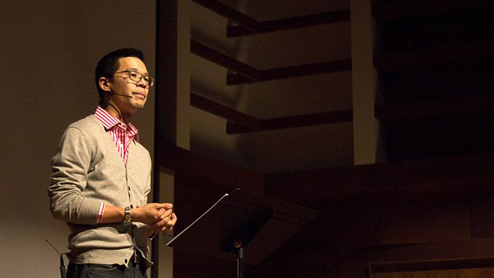 """Jeff Chu spoke on """"stories of LGBTQ grace"""" as part of Calvin's 2016 Sexuality Series. Photo courtesy calvin.edu."""