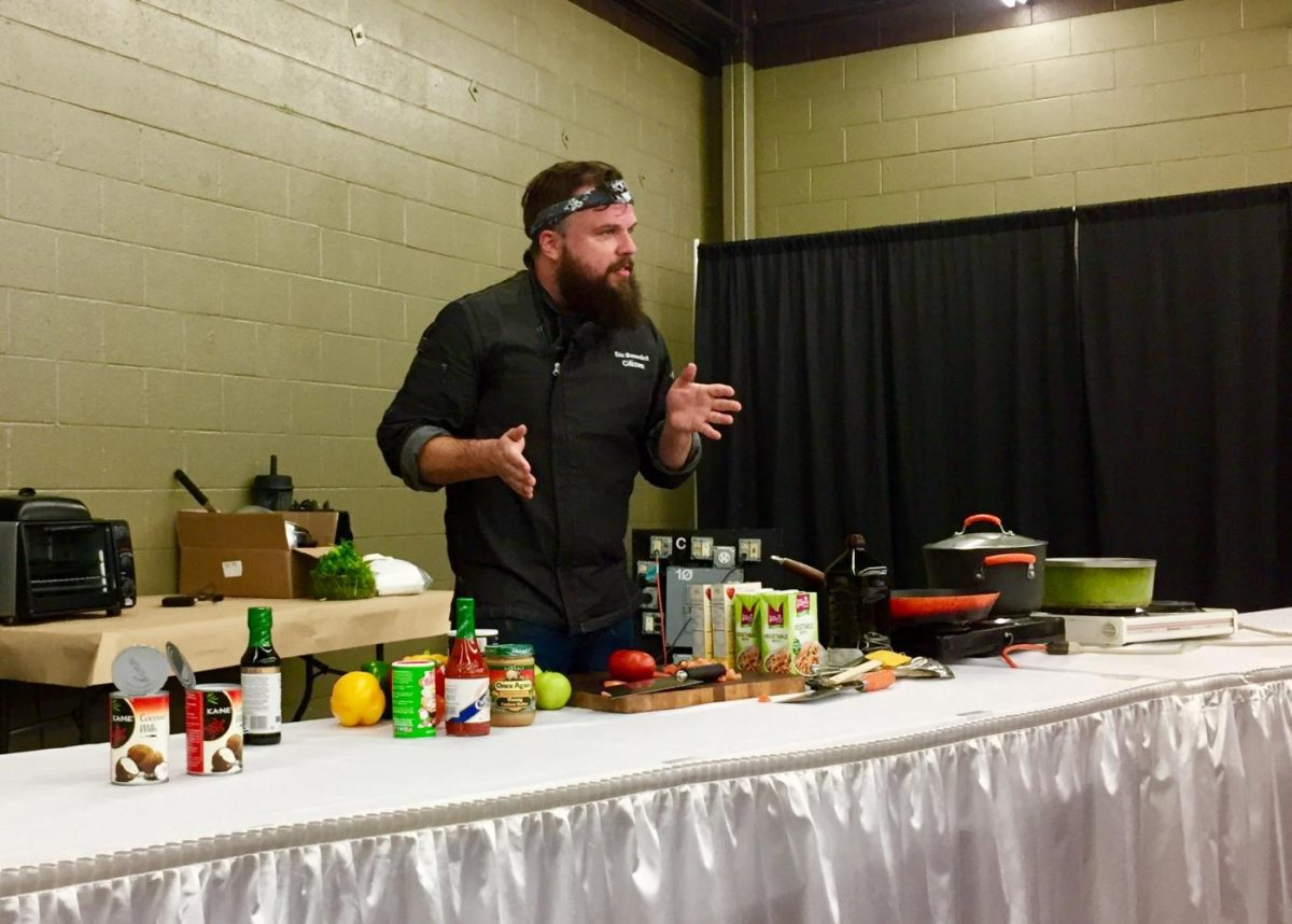 Chef Eric Benedict presenting at Veg Fest last weekend. Photo by Amelia Sterenberg.