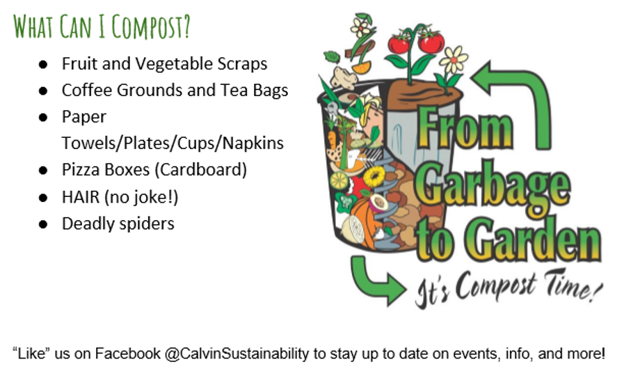 The Calvin Sustainability Club shares their information about composting. Photo courtesy Calvin Sustainability Club.