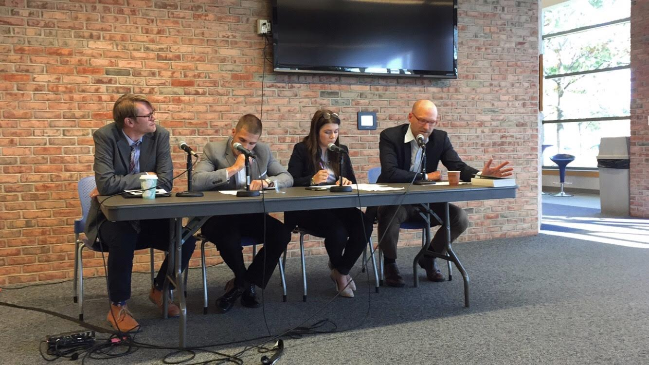 Mikael Pelz, Matt Seafield, Kennedy Genzink and Kevin den Dulk participated in the second debate in the Constitution Series. Photo by Isabella Ebbert.