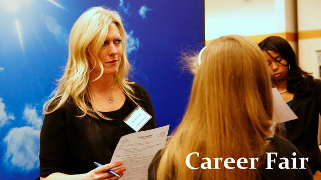 Representatives from 38 schools helped students explore careers overseas. Photo courtesy Calvin College.