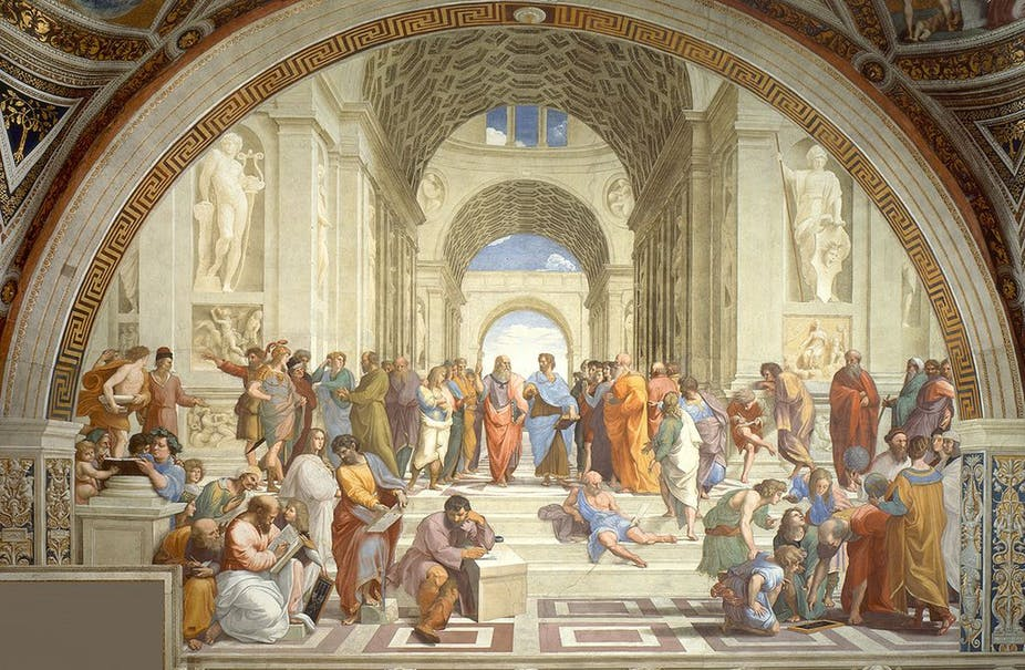 Raphael's School of Athens - Philosophers engaging in the world. Raphael/Wikimedia, CC BY-SA.
