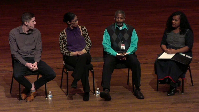 Regathering panelists discuss the role of neighborhood and community in addressing injustice. (Left to right: Jeremiah Stout, Christina Edmondson, Reggie Smith, Joella Ranaivoson.) Photo courtesy Calvin College.