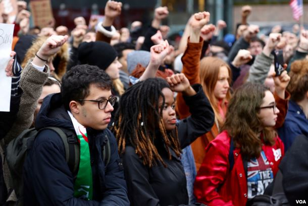 New+York+City+high+school+students+staged+a+midday+walkout+last+February+in+protest+of+the+then+confirmed+U.S.+Secretary+of+Education+Betsy+DeVos.+Photo+by+R.+Taylor%2FVOA.