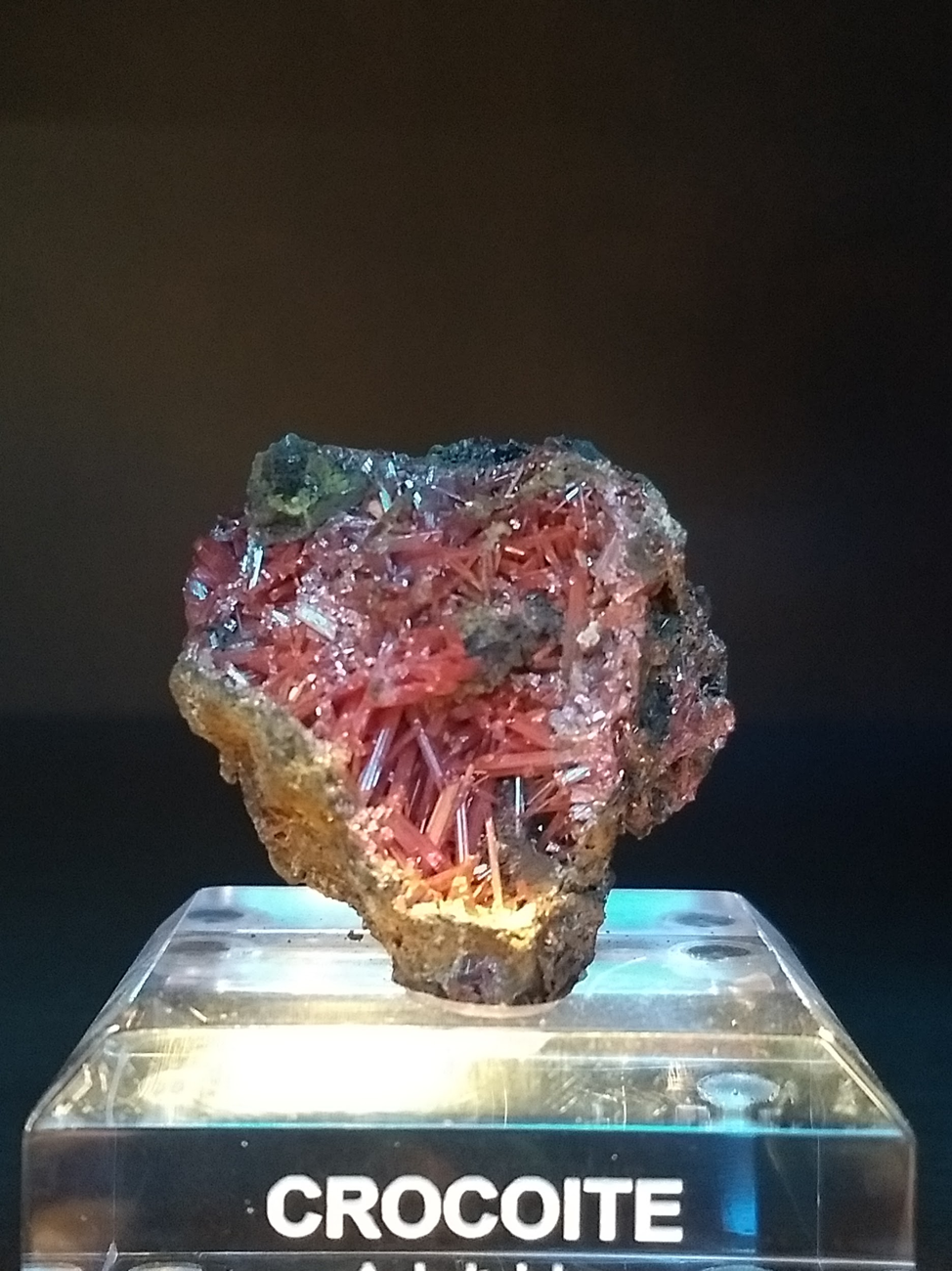 Small specimen with bladed crystals from Adelaide Mine in Tasmania. Photo by Melissa Sorrentino.