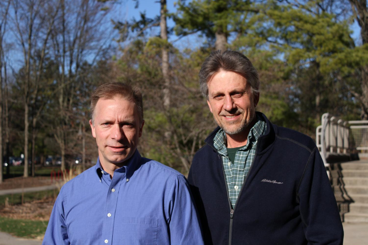 Professors Heun (left) and Warners (right) are planning a seminar for the summer in an effort to change the way Christians think about caring for the planet. Photo by David Fitch.