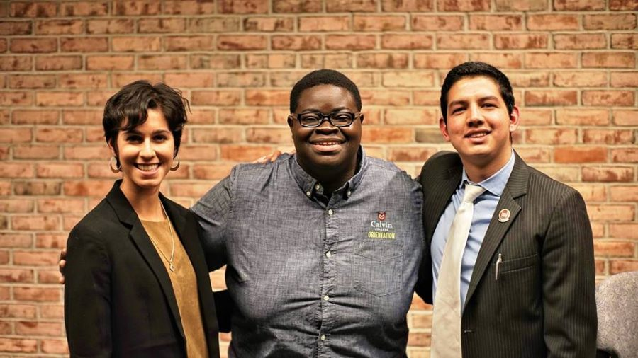 Selvi Bunce (left) and Edgar Aguilar (right) are campaigning for student body president as Andrew Oppongs (center) term comes to a close. Photo courtesy Selvi Bunce.