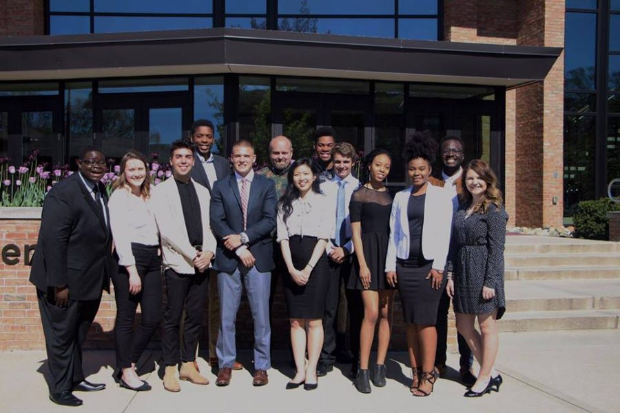 The 2017-2018 student senate team pictured will be replaced by a new, restructured team including four VPs. Photo courtesy Student Senate.