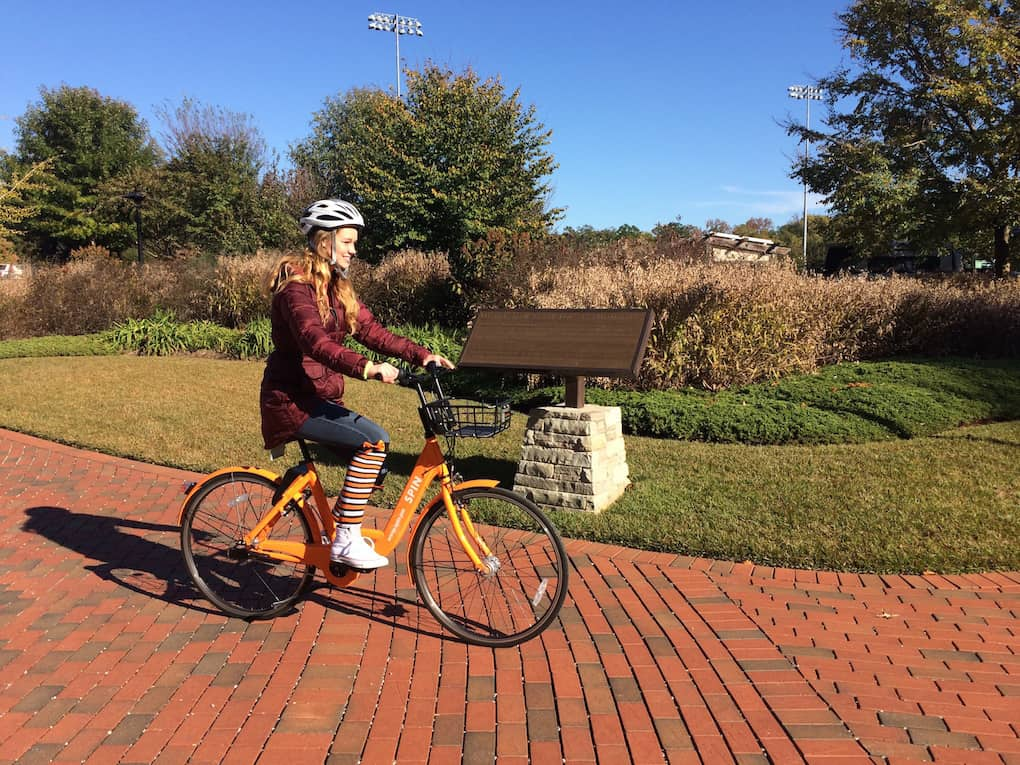 Photo by Cindy Landrum. The Spin initiative has attracted 291 bikers with a total of 1,300 rides this semester.