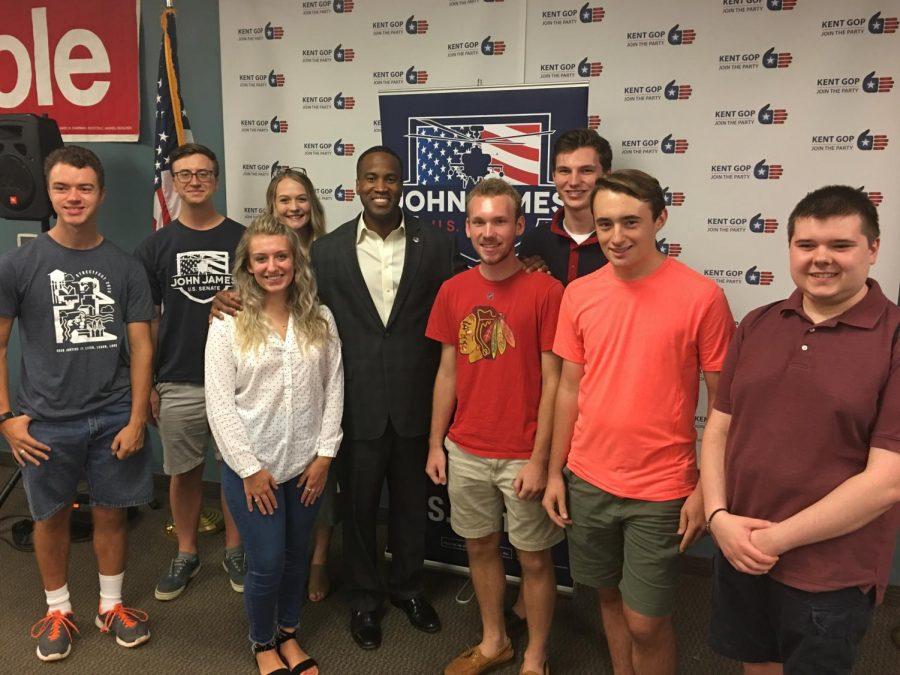 Pictured: Calvin College Republicans with U.S. Senate candidate John James.