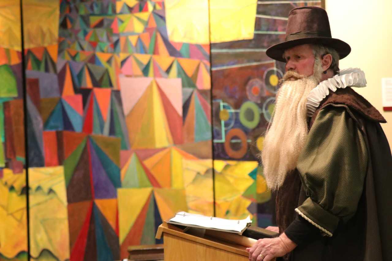 Donald Sinnema, Professor of Theology Emeritus at Trinity Christian College, dressed in full costume as John Borgman, the chairman of the Dutch Delegates at the Synod of Dort.  Photo Credit: Zack DeBruyne, seminary student.