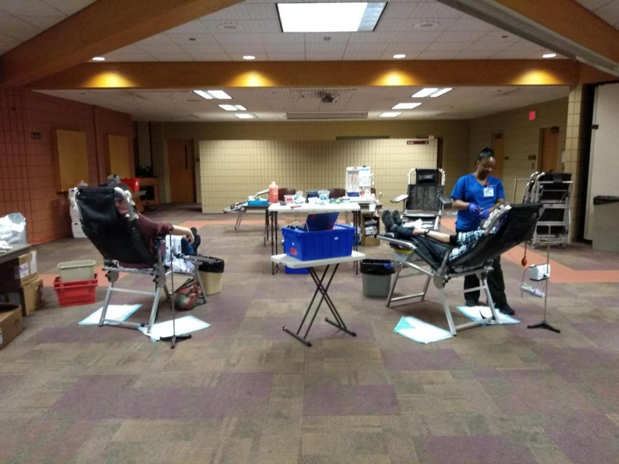 Students giving blood at the emergency blood drive.