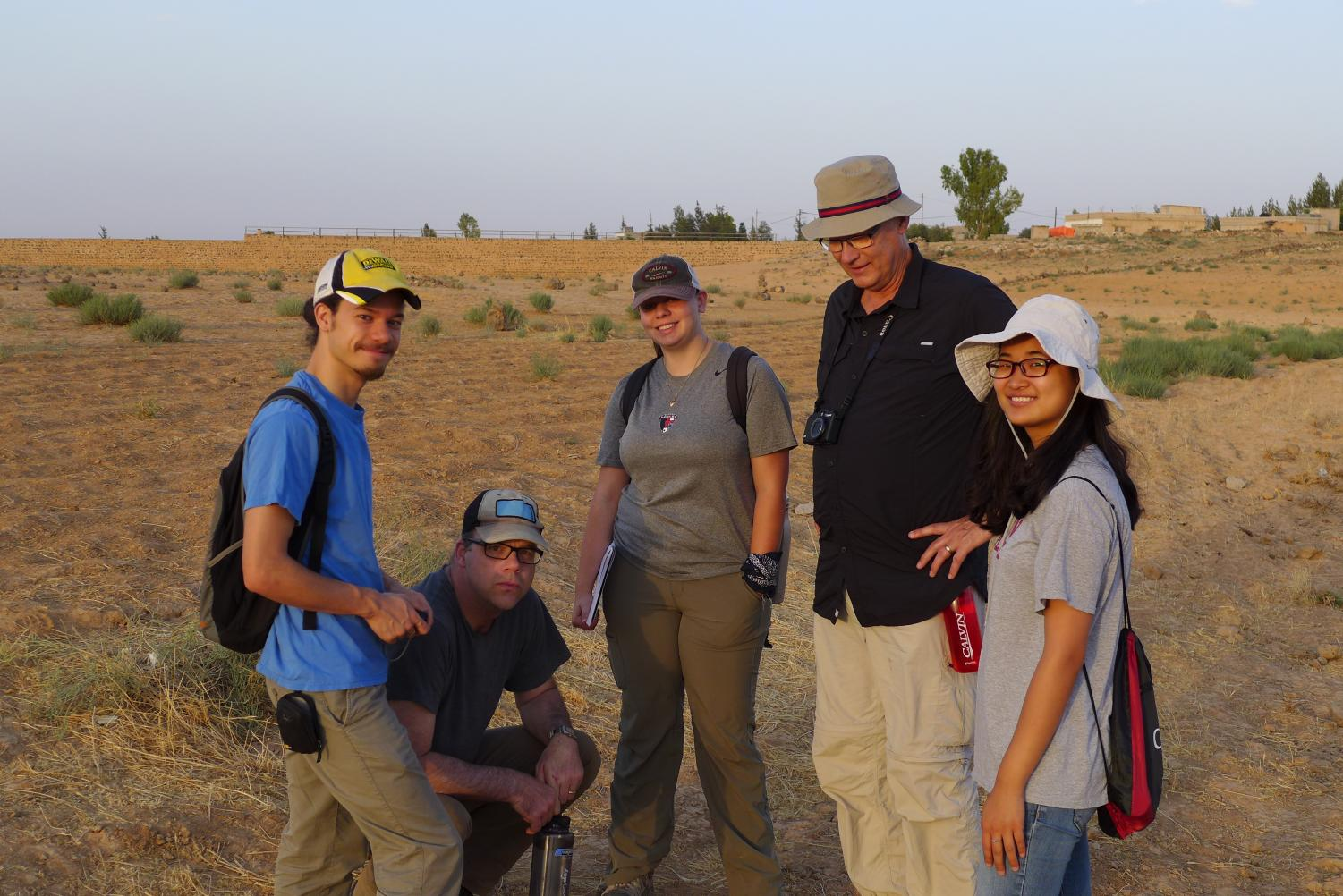 Calvin College students at the site