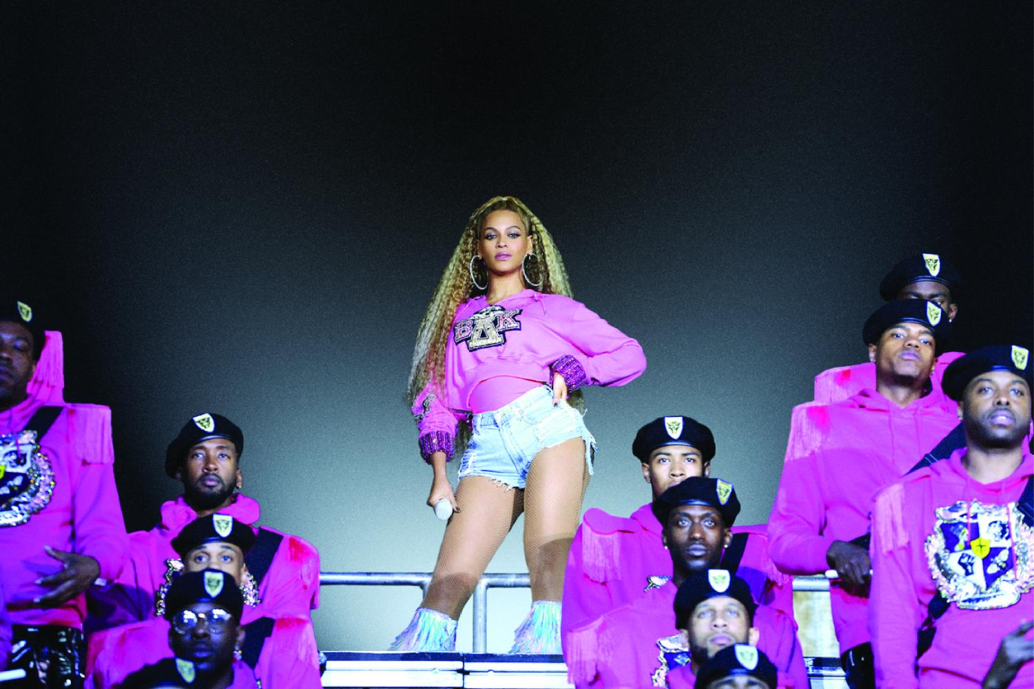"Beyonce atop a pyramid of her self titled ""black orchestra"" in one of her two two-hour performances."