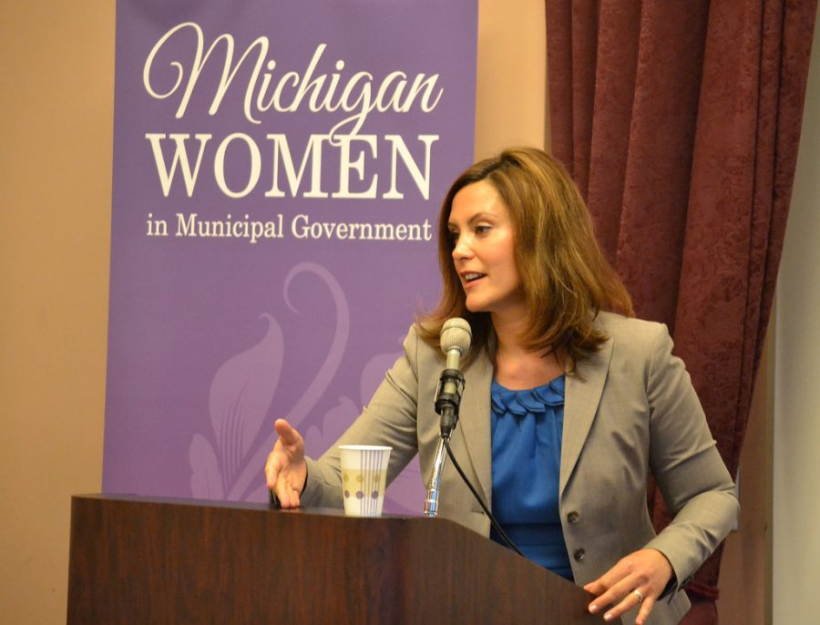 Gretchen Whitmer Talks with Members of the Michigan Women in Municipal Government.